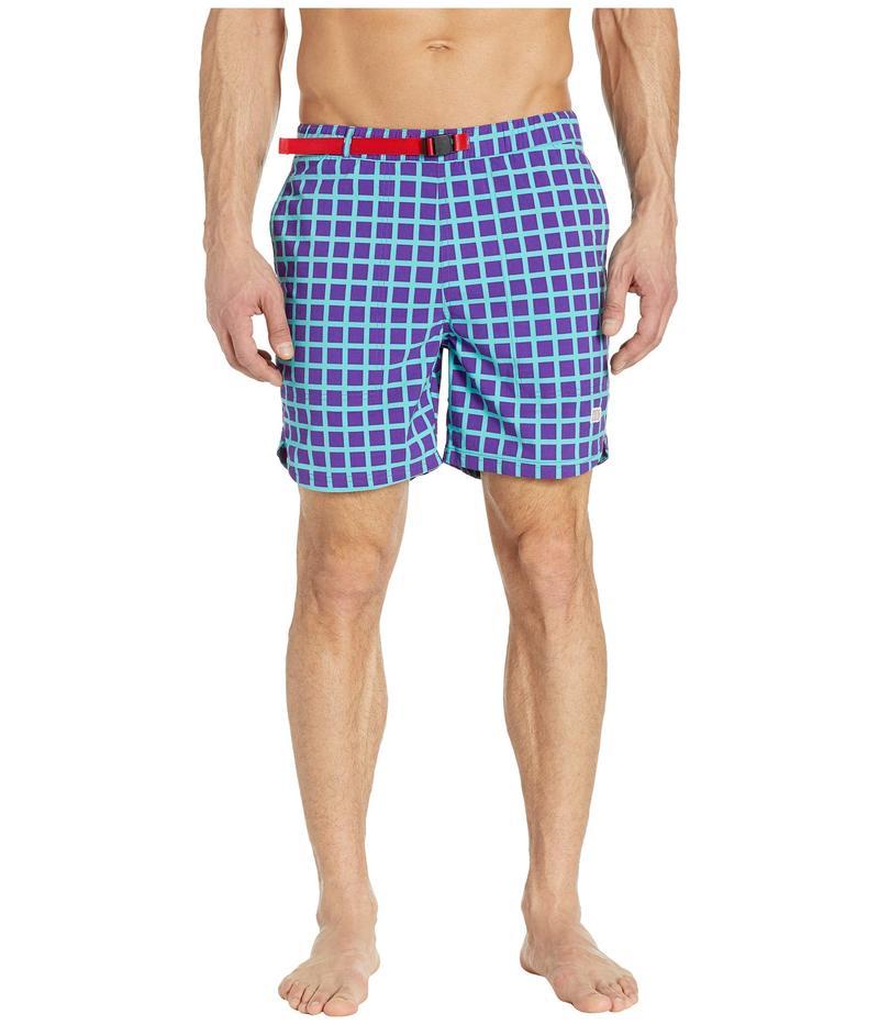 トポ・デザイン メンズ ハーフパンツ・ショーツ 水着 River Shorts - Print Turquoise Grid