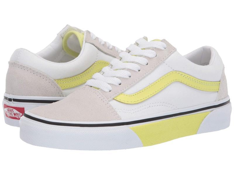 バンズ メンズ スニーカー シューズ Old Skool (Color Block) True White/Sunny Lime