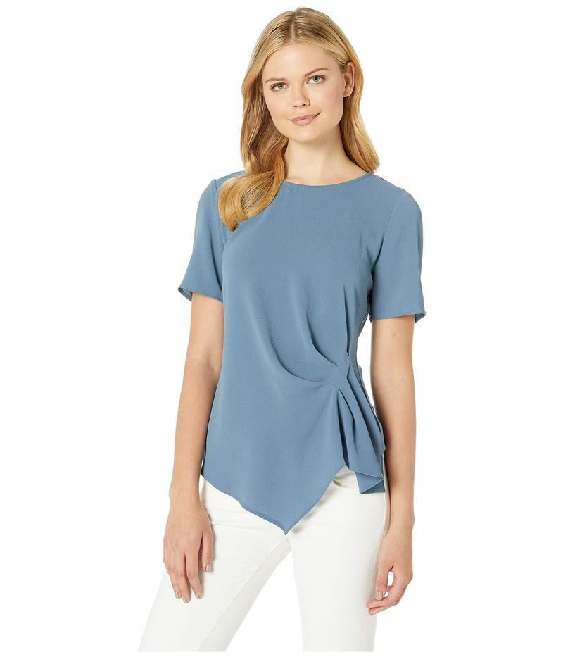 ヴィンスカムート レディース シャツ トップス Short Sleeve Side Gather Asymmetrical Hem Blouse Dusty Blue