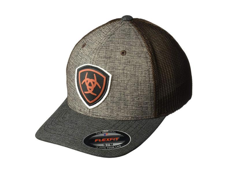 アリアト メンズ 帽子 アクセサリー Ariat Shield Logo Flex Fit Cap Brown Herringbone