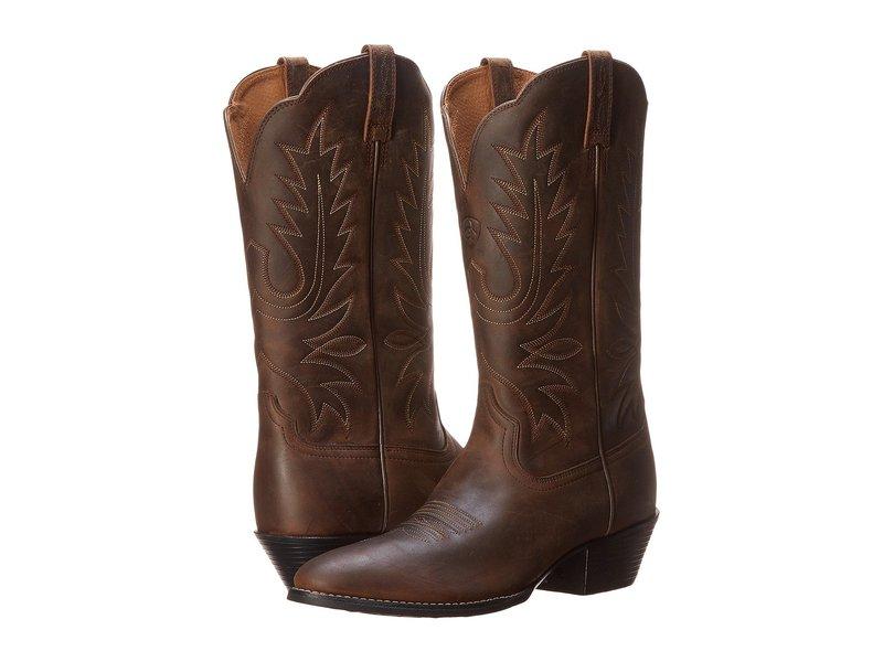 アリアト レディース ブーツ・レインブーツ シューズ Heritage Western R Toe Distressed Brown