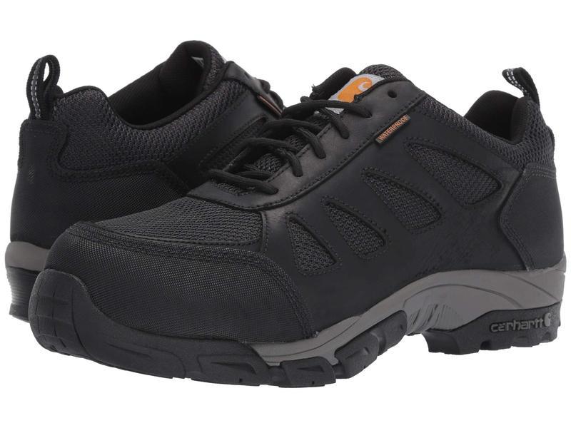 カーハート メンズ スニーカー シューズ Lightweight Low Waterproof Work Hiker Carbon Nano Toe Black Leather