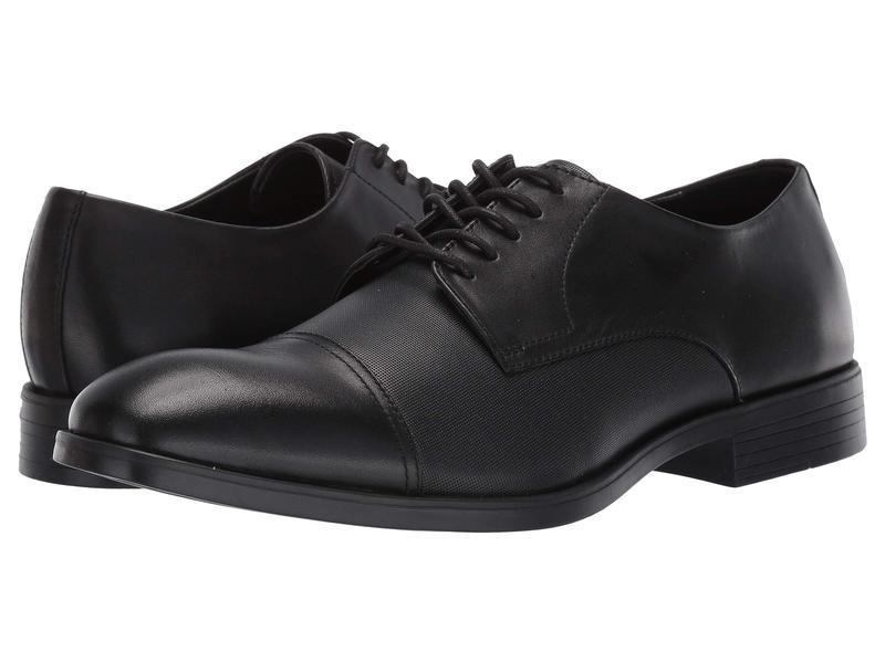 カルバンクライン メンズ オックスフォード シューズ Conner Black Dress Calf/Small Grid Emboss