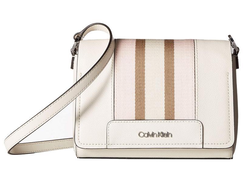 カルバンクライン レディース ハンドバッグ バッグ Clara Saffiano Leather Crossbody White