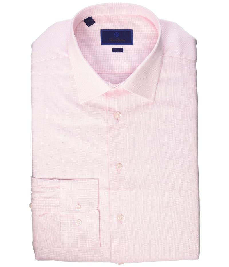 デイビッドドナヒュー メンズ シャツ トップス Trim Fit Micro Basketweave Dress Shirt Pink
