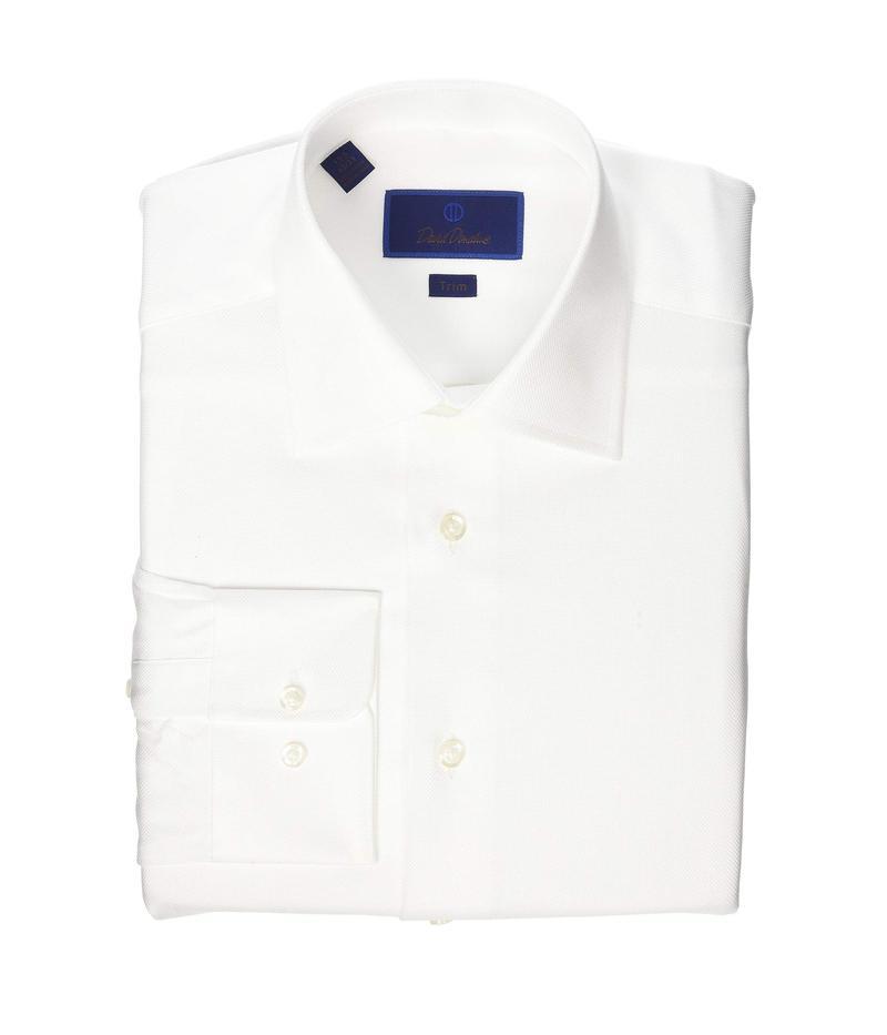 デイビッドドナヒュー メンズ シャツ トップス Trim Fit Royal Oxford Dress Shirt White