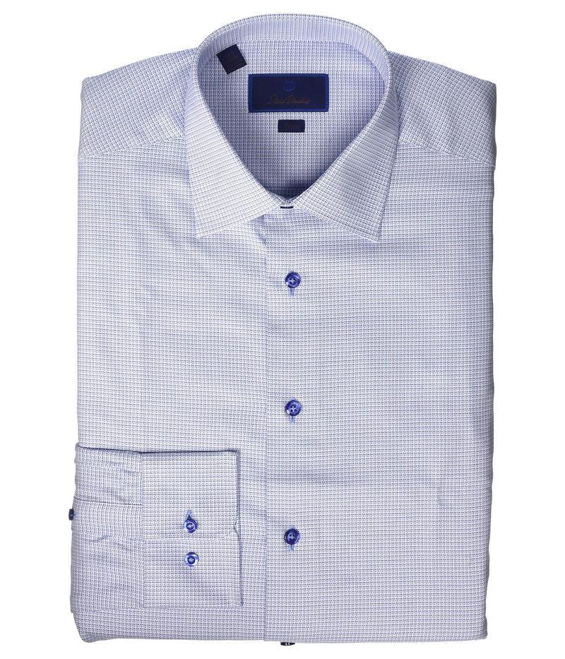 デイビッドドナヒュー メンズ シャツ トップス Trim Fit Two Tone Mini Basketweave Dress Shirt Blue
