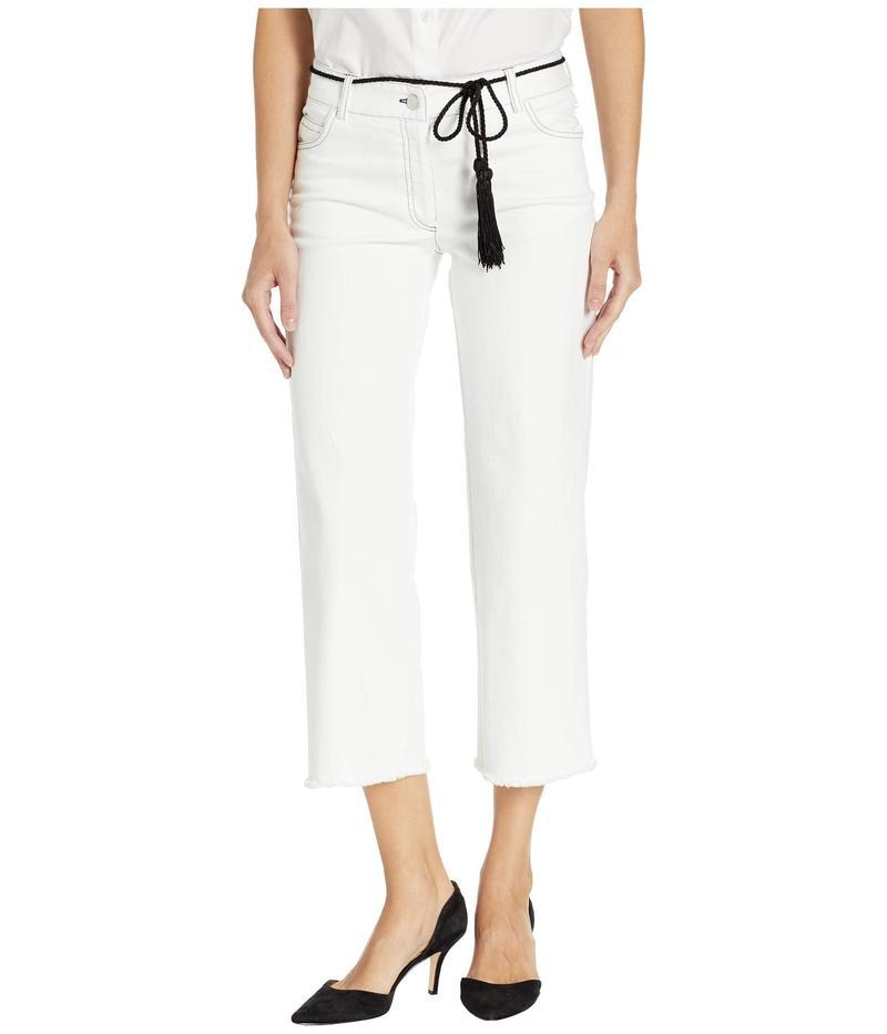 エリオットローレン レディース デニムパンツ ボトムス Top Stitch Denim Wide Leg Cropped Pants with Belt in White White
