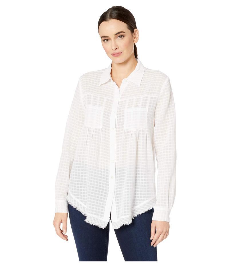 エリオットローレン レディース シャツ トップス Sheer Bliss Button Front Shirt with Pocket Detail White