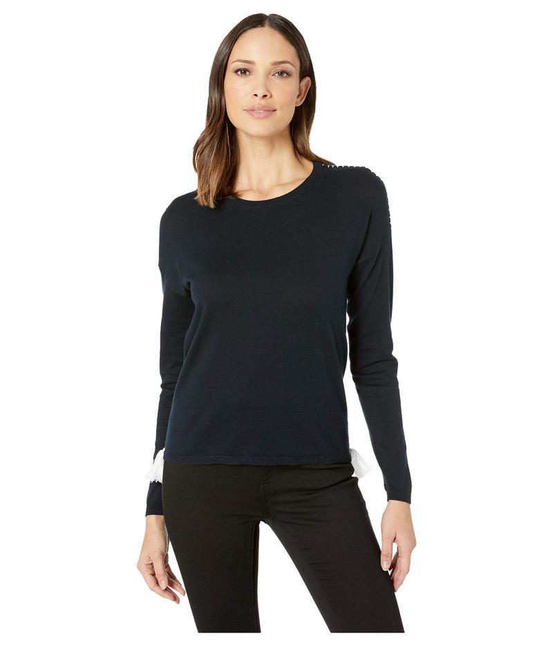 エリオットローレン レディース ニット・セーター アウター Swizzle Stick Sweater with Contrasting Stitches and Tassels Navy/White