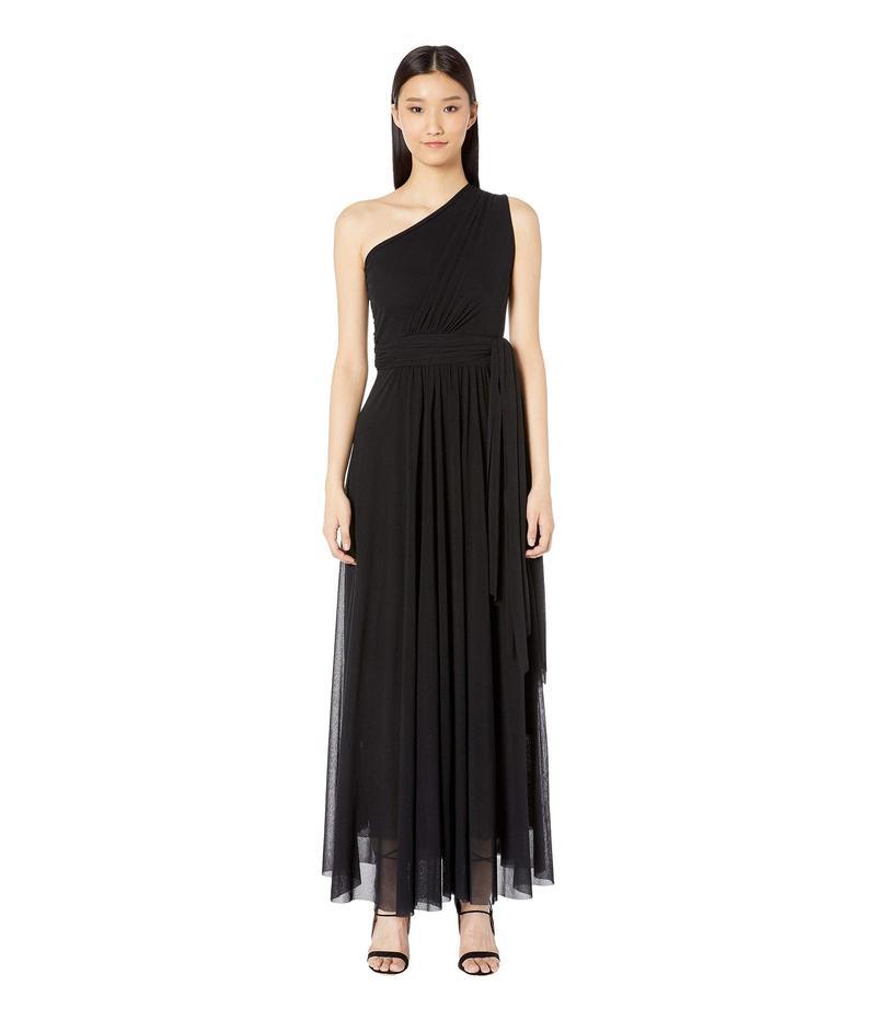 フィッジ レディース ワンピース トップス Solid One Shoulder Long Belted Dress Nero