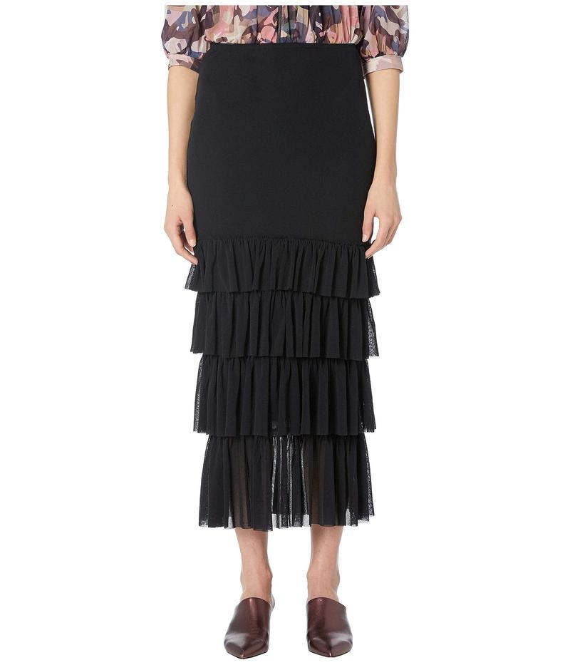 フィッジ レディース スカート ボトムス Solid Black Ruffle Skirt Nero