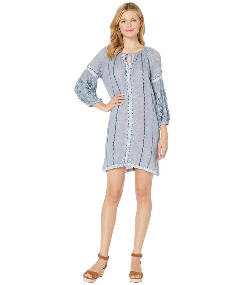 ハットレイ レディース ワンピース トップス Marina Dress Etched Mandella Blue