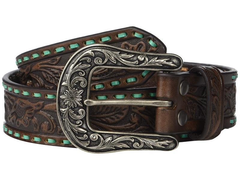 エムエフウエスターン レディース ベルト アクセサリー Nocona Embossed Belt w/ Contrast Laced Edges Brown/Turquoise