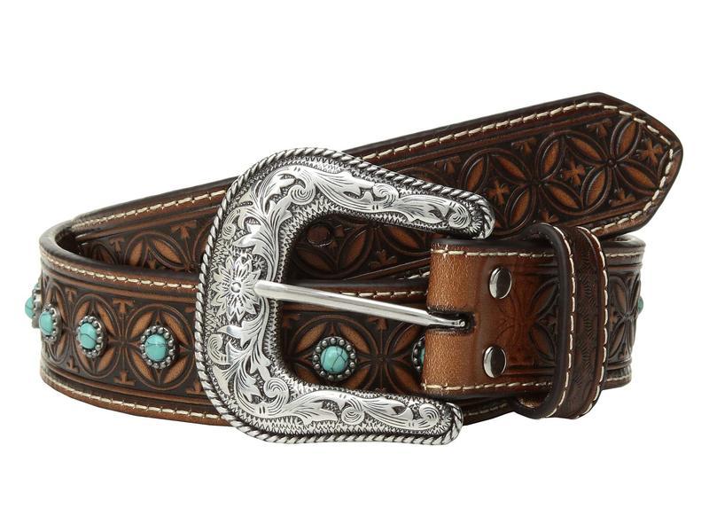 エムエフウエスターン メンズ ベルト アクセサリー Nocona Diamond Emboss Belt w/ Turquoise Stones Tan