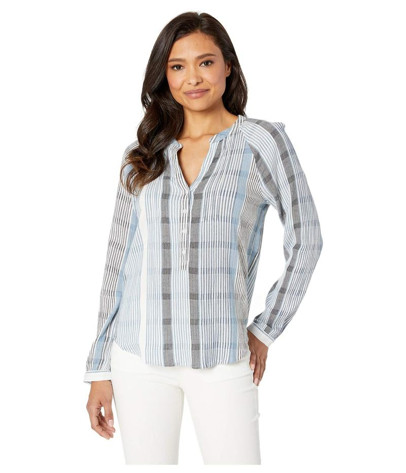 ラッキーブランド レディース シャツ トップス Stripe Gauze Shirt Blue Multi