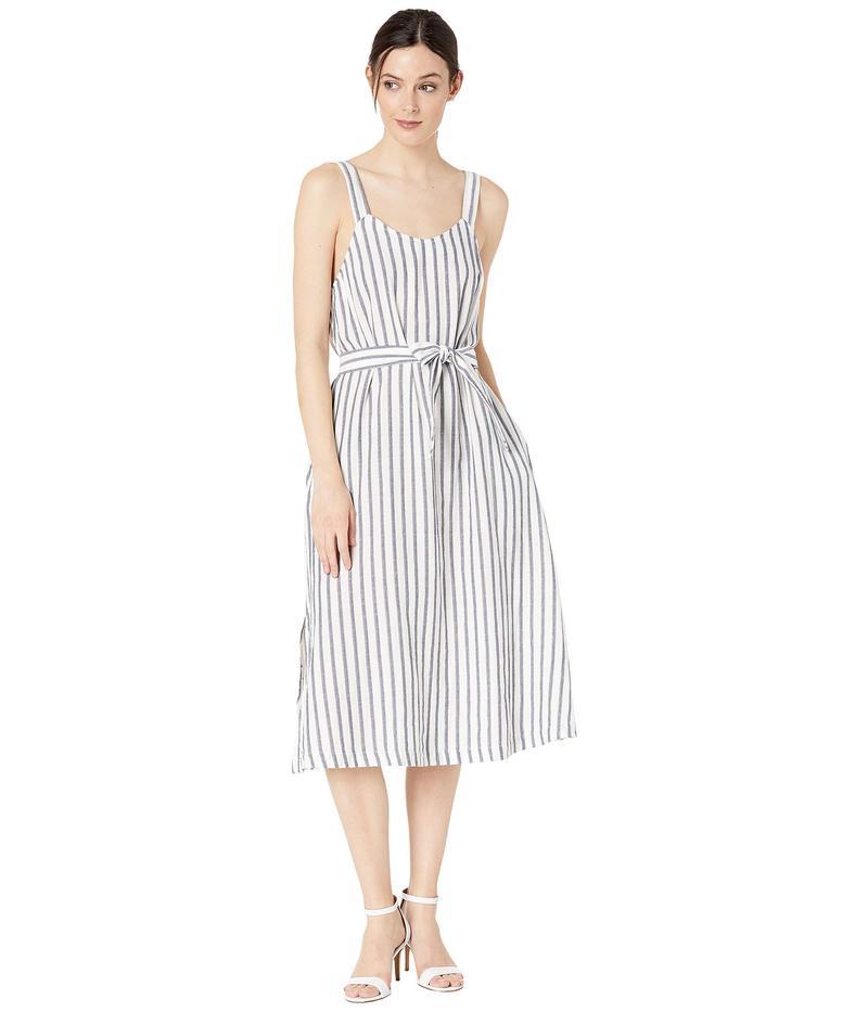 スリードッツ レディース ワンピース トップス Stripe/Dot Gauze Dress Denim/Natural