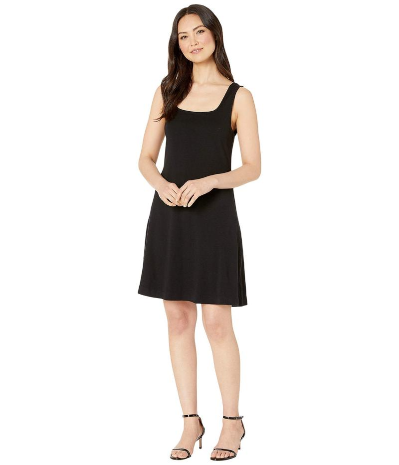 スリードッツ レディース ワンピース トップス Heritage Knit Double Square Neck Fit & Flare Dress Black