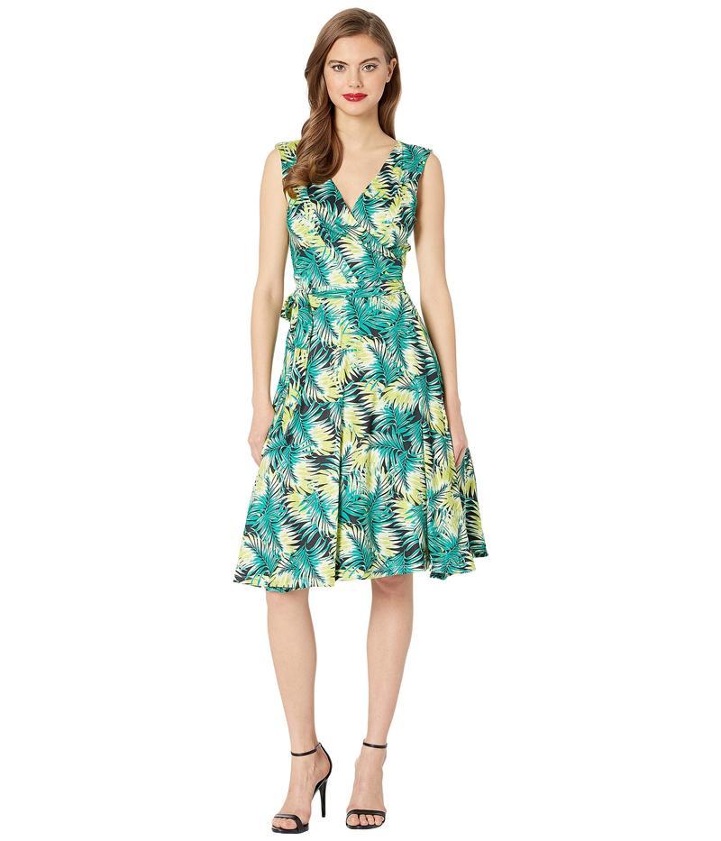 ユニークビンテージ レディース ワンピース トップス 1940s Style Sleeveless Kelsie Wrap Dress Tropical Green Leaf