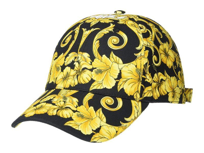 ヴェルサーチ メンズ 帽子 アクセサリー Printed Golf Design Hat Black/Gold