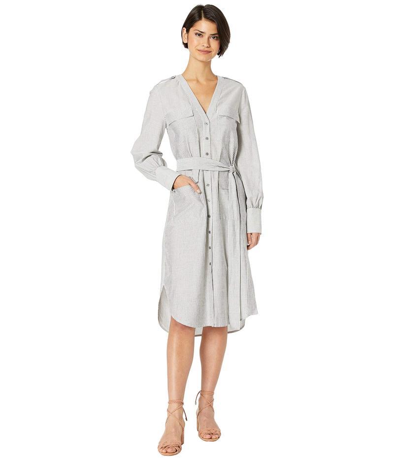 ビーシービージーマックスアズリア レディース ワンピース トップス Button Down Stripe Shirtdress Grey Combo Medium