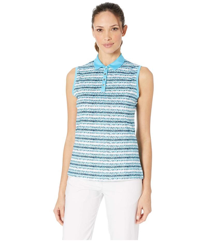 キャラウェイ レディース シャツ トップス All Over Crystal Striped Printed Polo River Blue
