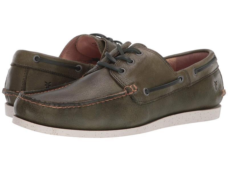 フライ メンズ デッキシューズ シューズ Briggs Boat Shoe Green Antique Tumbled Veg Tan