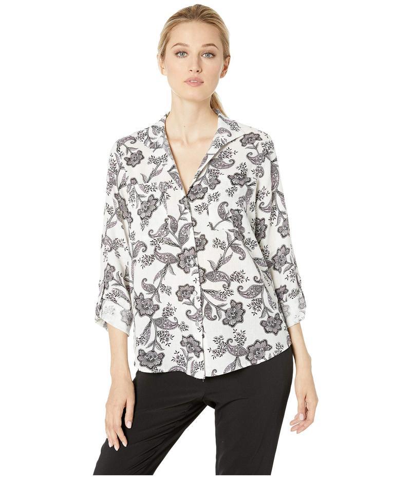 ジョーンズニューヨーク レディース シャツ トップス Upturned Collar Roll Tab Shirt Ivory Combo