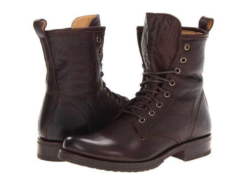 フライ レディース ブーツ・レインブーツ シューズ Veronica Combat Dark Brown Soft Vintage Leather