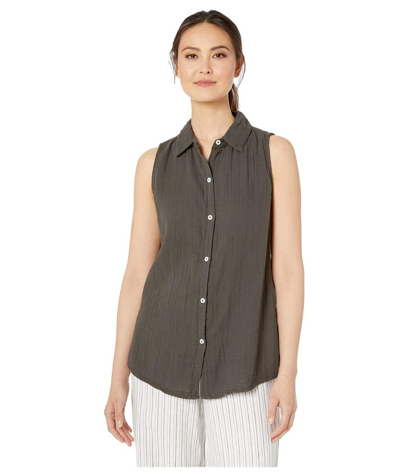 デイランバイトゥルーグリット レディース シャツ トップス Soft and Light Double Gauze Sleeveless Shirt with Button Back Carbon
