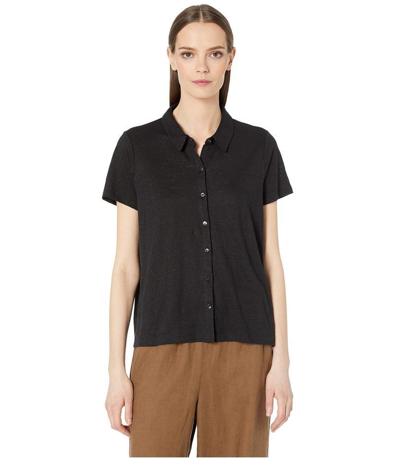 エイリーンフィッシャー レディース シャツ トップス Organic Linen Jersey Classic Top Black