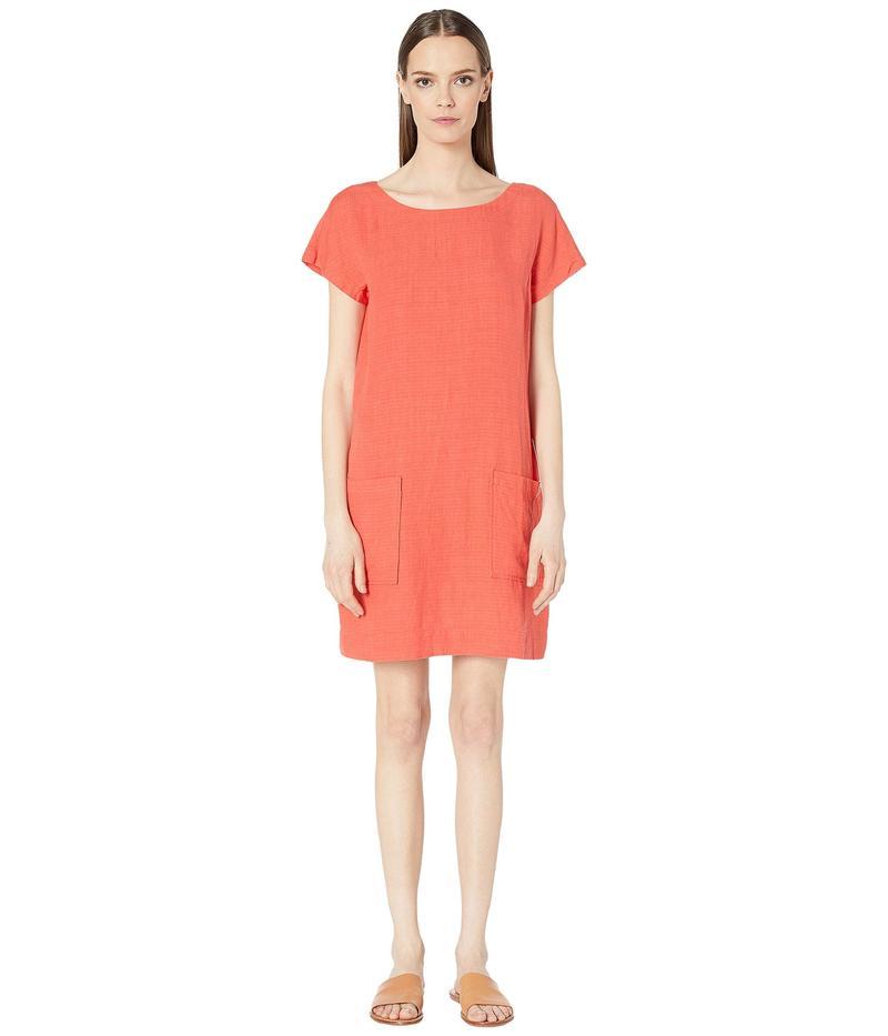 エイリーンフィッシャー レディース ワンピース トップス Organic Linen Tencel Crepe Bateau Neck Knee Length Dress Red Lory