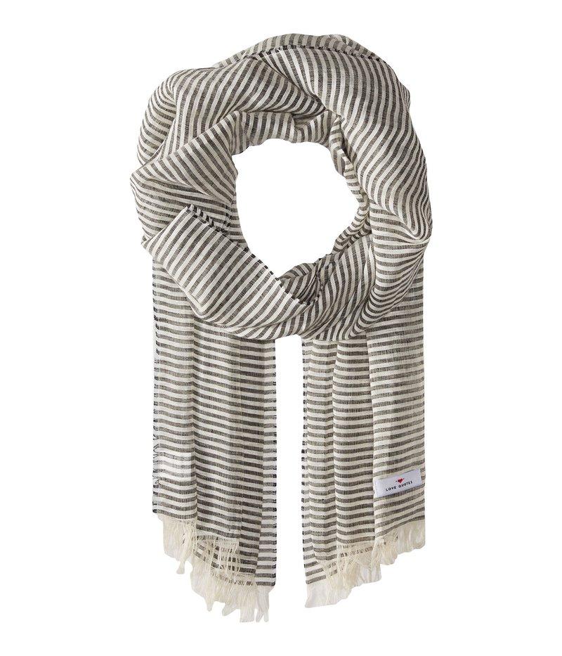 ラブクオーツ レディース マフラー・ストール・スカーフ アクセサリー Linen Cotton Narrow Stripe Chalkboard/White