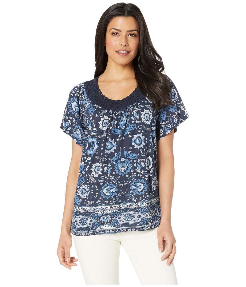 ラッキーブランド レディース シャツ トップス Crochet Short Sleeve Top Blue Multi