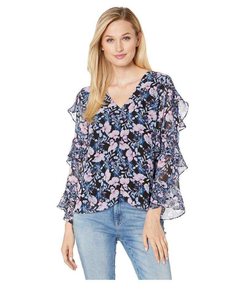 ヴィンスカムート レディース シャツ トップス Tiered Ruffle Long Sleeve Charming Floral Blouse Classic Navy