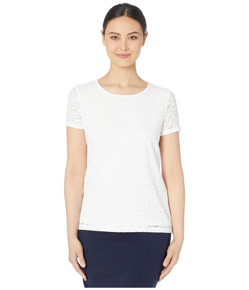 カルバンクライン レディース シャツ トップス All Over Lace Short Sleeve Top Soft White