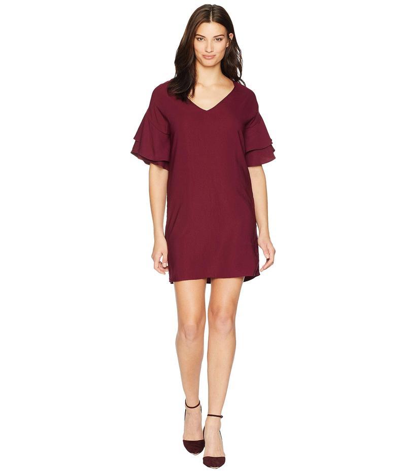 アメリカンローズ レディース ワンピース トップス Dawn Ruffle Sleeve Shift Dress Burgundy