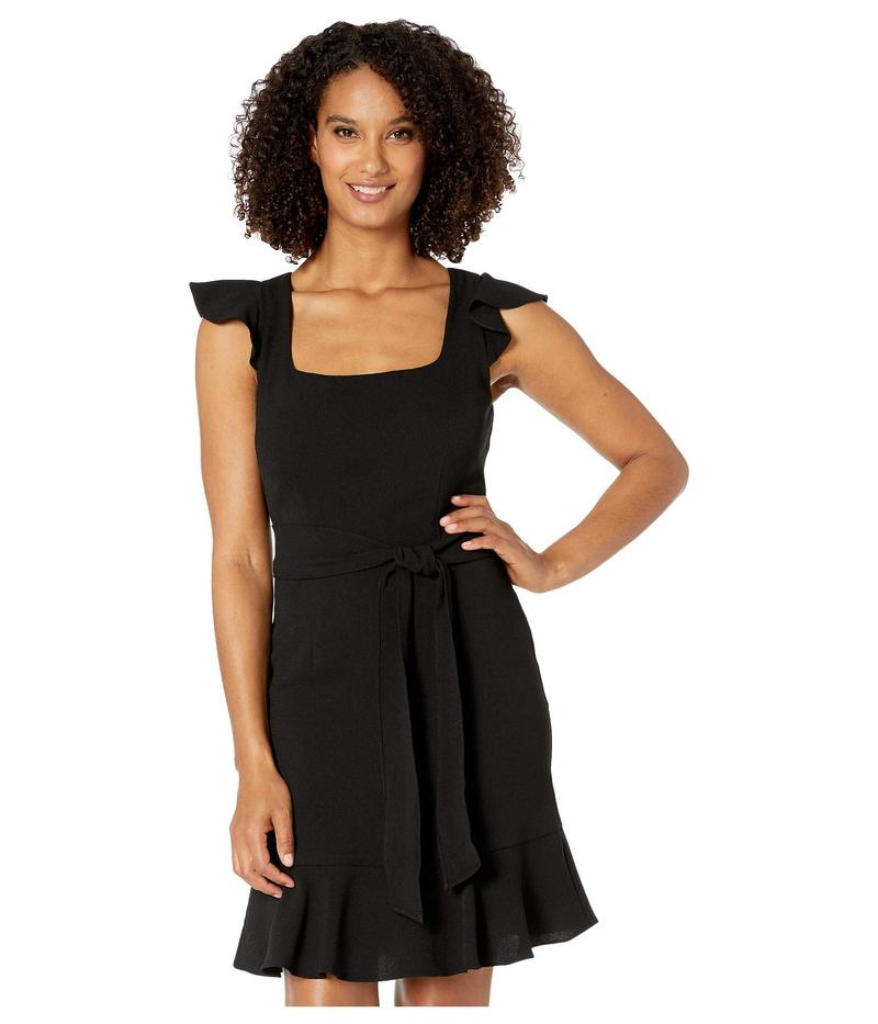 アドリアナ パペル レディース ワンピース トップス Crepe Flounce Dress with Tie Waist Black