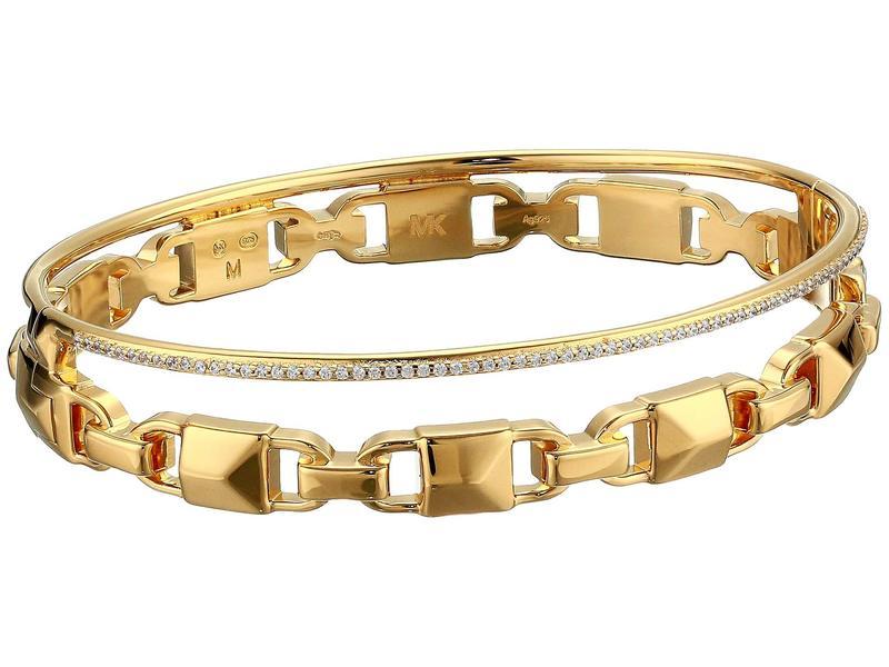 マイケルコース レディース ブレスレット・バングル・アンクレット アクセサリー Precious Metal-Plated Sterling Silver Mercer Link Pav Halo Bangle Bracelet Gold