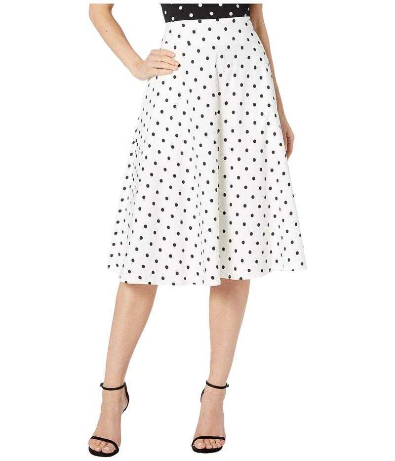 ユニークビンテージ レディース スカート ボトムス Retro Style White & Black Polka Dot High-Waisted Vivien Swing Skirt White/Black Dot