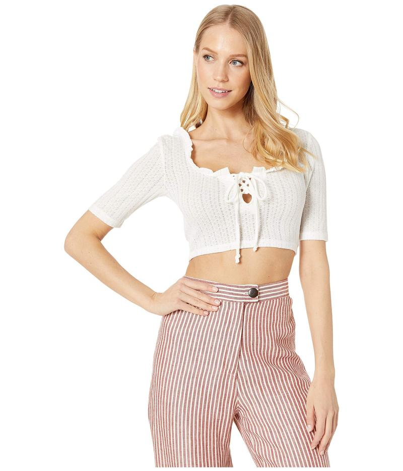 BCBジェネレーション レディース シャツ トップス Lace-Up Short Sleeve Top Optic White