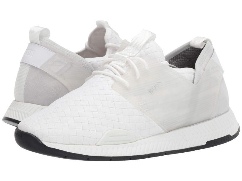 ヒューゴボス メンズ スニーカー シューズ Titanium Woven Sneaker by BOSS White