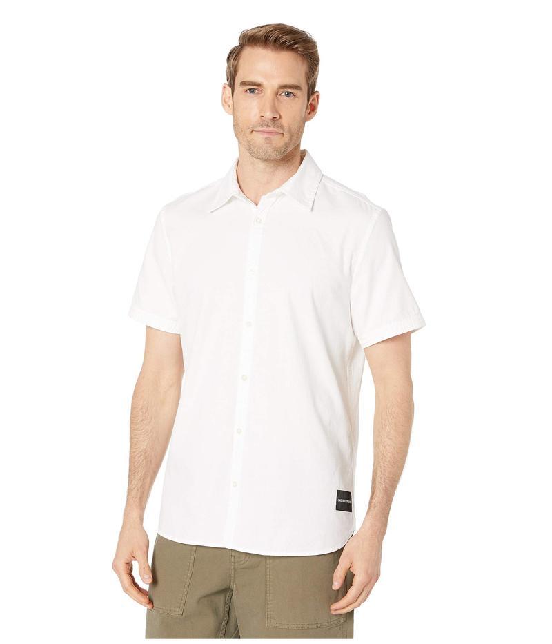 カルバンクライン メンズ シャツ トップス Short Sleeve Oxford Button Down Shirt Standard White