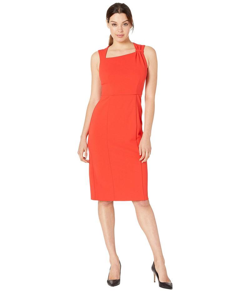 ドナモーガン レディース ワンピース トップス Sleeveless Asymmetric Neck Sheath Crepe Dress Scarlet Red