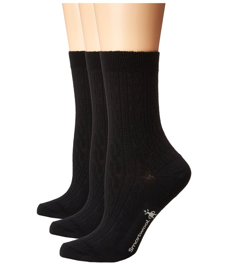 スマートウール レディース 靴下 アンダーウェア Cable 3-Pack Black