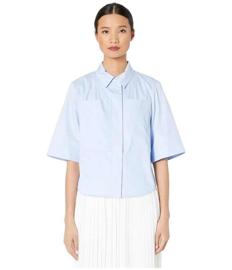 アダム リピズ レディース シャツ トップス Cotton Poplin Safari Shirt w/ Box Pleat Pale Blue
