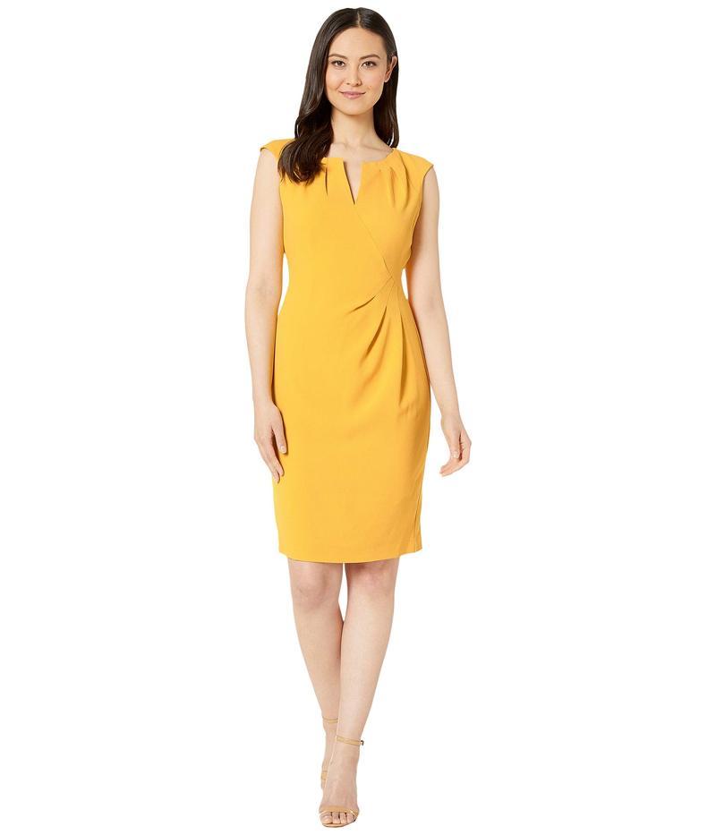 アドリアナ パペル レディース ワンピース トップス Textured Crepe Side Drape Sheath Dress Marigold