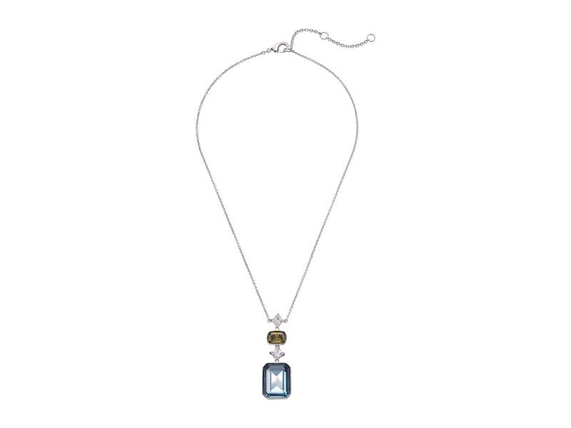 ニナ レディース ネックレス・チョーカー・ペンダントトップ アクセサリー Deco CZ Y-Necklace Rhodium/Aqua CZ/Peridot Crystal