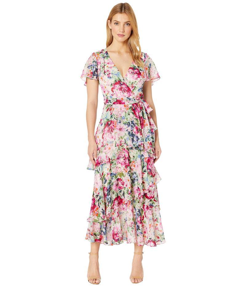 タハリ レディース ワンピース トップス Midi Length Tiered Flutter Sleeve Dress in Water Color Print Garden Party Pink