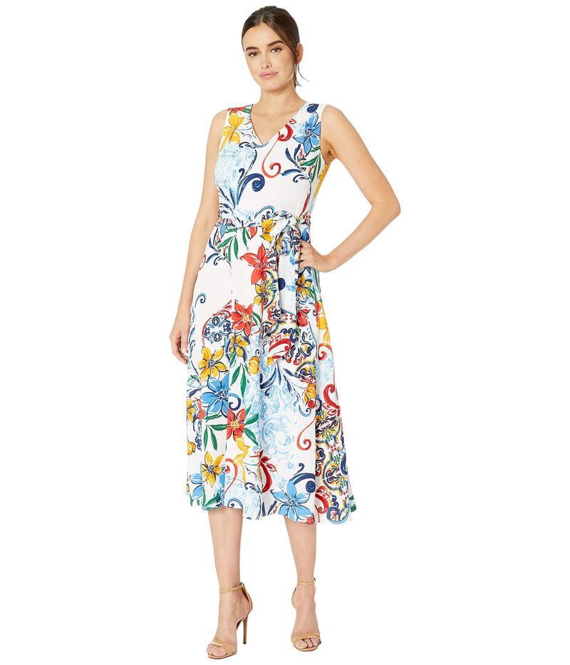 タハリ レディース ワンピース トップス Multicolor Pebble Crepe Side Tie Dress Amalfi Tile Print